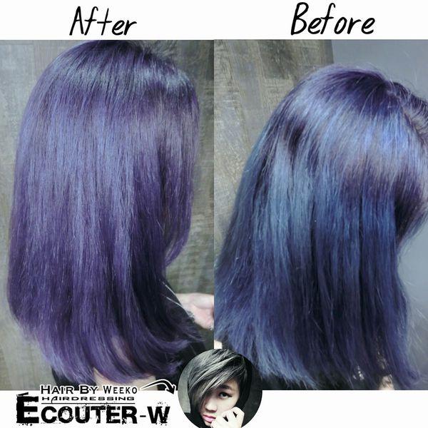 洗紫綴洗髮精+紫綴髮泥呈現後不同的效果