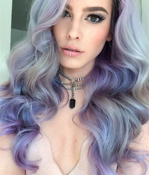 Light-gray-with-lavender-purple-make-this-balayage-wavy-hairstyle-look-so-different